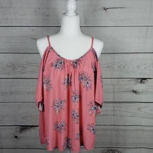Torrid• L blouse cold shoulder strappy floral pink